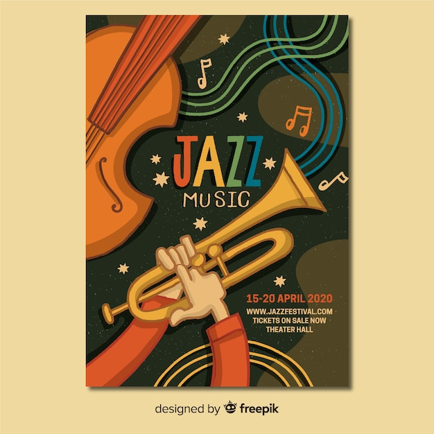 Template hand drawn abstract jazz poster Free Vector