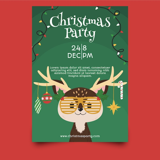 Template hand drawn christmas party flyer Free Vector
