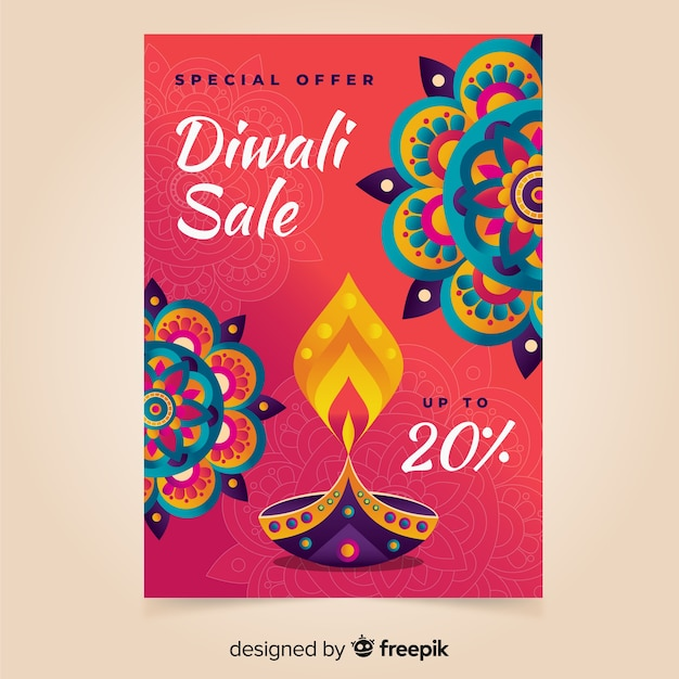 Template hand drawn diwali sale poster Free Vector