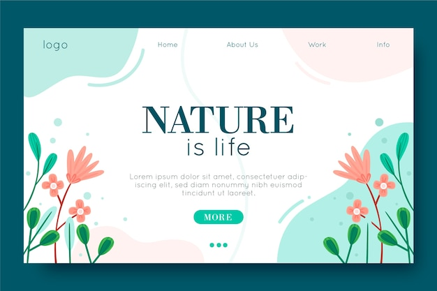 Template hand-drawn nature landing page Free Vector