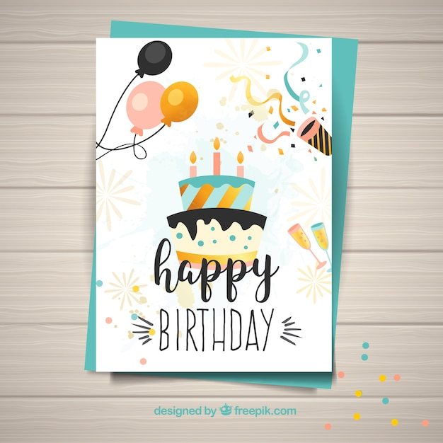Template For Happy Birthday Card Free Vector