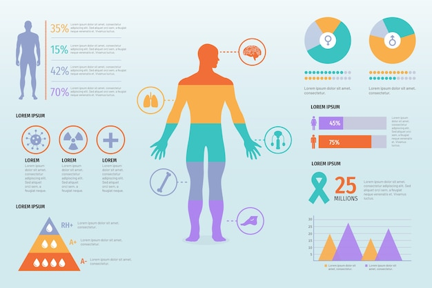 Template healthcare medical infographic Free Vector