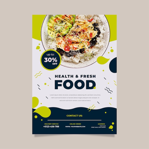 Template for healthy food restaurant poster Premium Vector