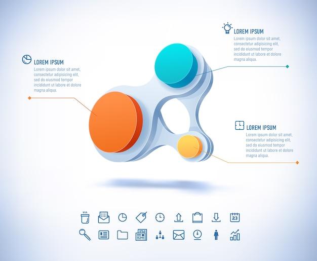 モダンなスタイルのテンプレート。カラフルなビジネスサークルがつながります。ストックイラスト。 3dイラストインフォグラフィック。 Premiumベクター
