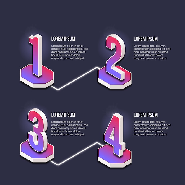 Template infographic steps gradient Free Vector