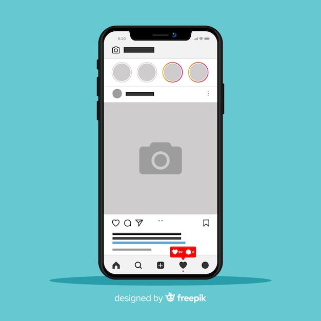 Template of instagram photo frame on iphone Free Vector