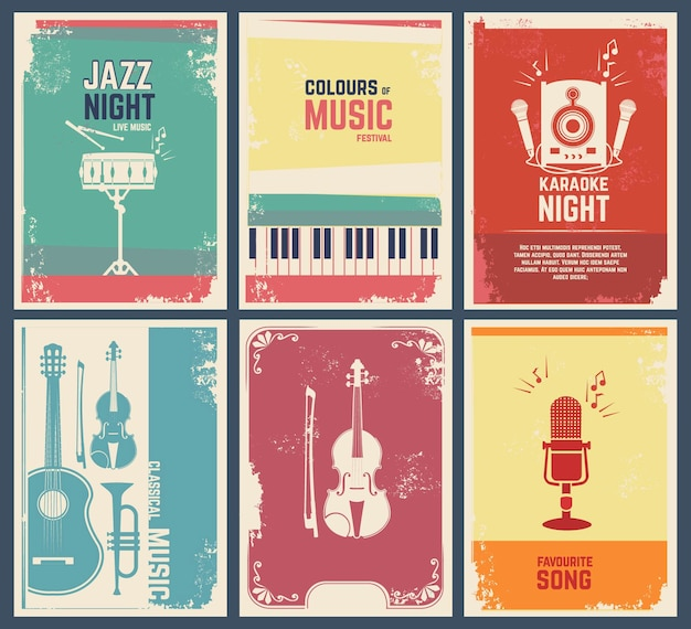 Template of invitation cards with pictures of musical instruments.  music favourite song and party jazz festival banner illustration Premium Vector