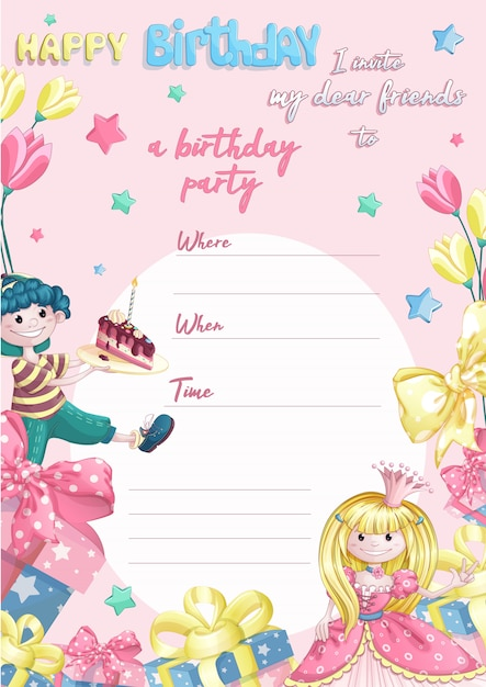 Template invitation to a child's happy birthday party for little princesses. Premium Vector