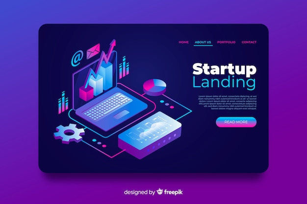 Template isometric startup landing page Free Vector