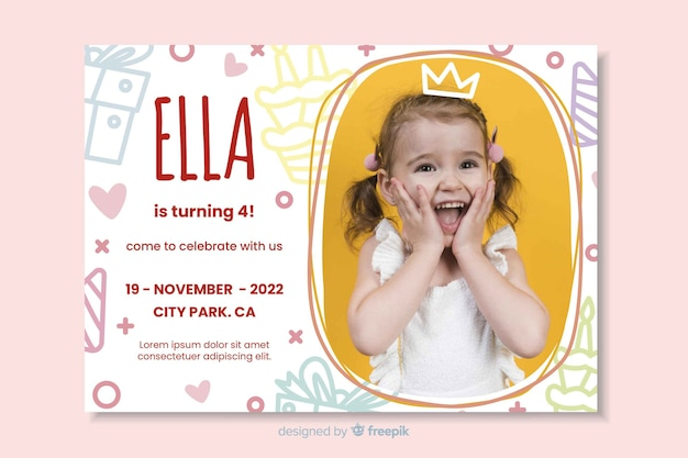 Template kids birthday invitation with image Free Vector
