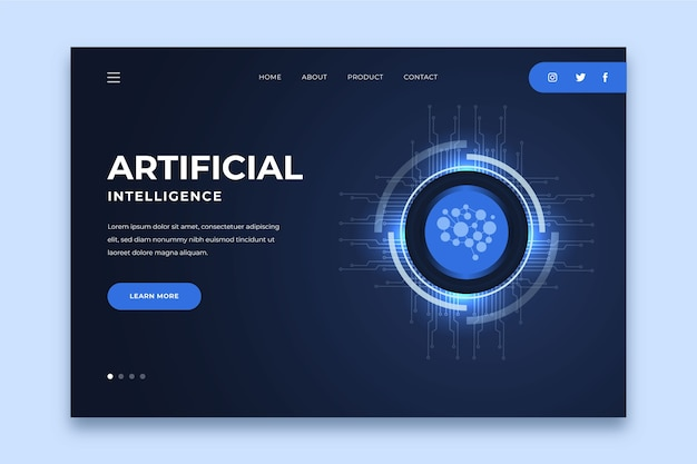 Template landing page artificial intelligence Free Vector