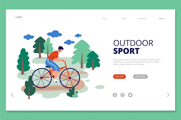 Template landing page outdoor sport Free Vector