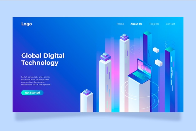 Template landing page technology concept Free Vector
