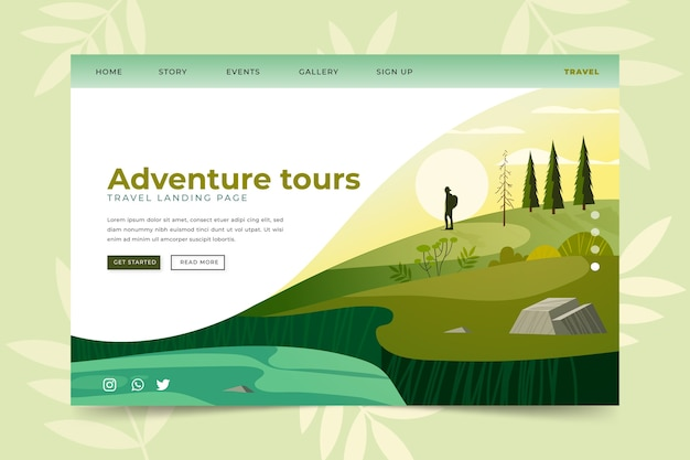 Template landing page travel Free Vector