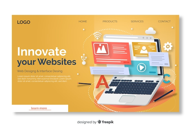 Template landing page with laptop Free Vector
