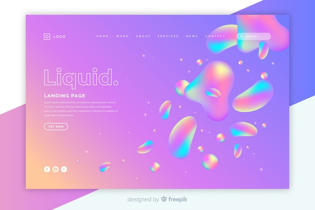 Template landing page with liquid design Free Vector
