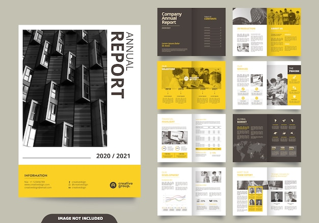 会社のプロフィールとパンフレットの表紙付きテンプレートレイアウトデザイン Premiumベクター