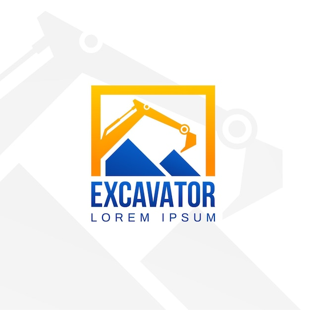 Template for logo with excavator Premium Vector