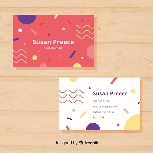 Template of memphis business card Free Vector