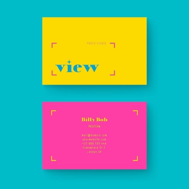 Template minimal colorful business card Free Vector