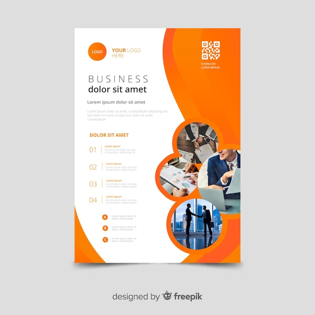 Template mosaic business flyer Free Vector