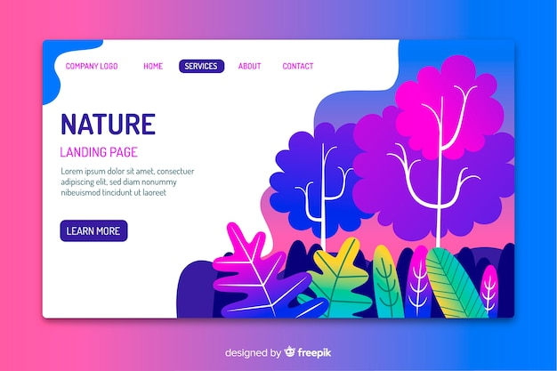 Template of nature landing page Free Vector