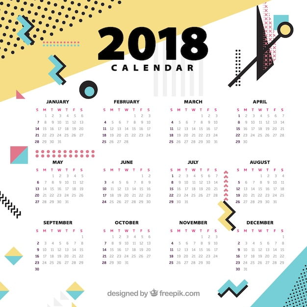 Template of 2018 calendar