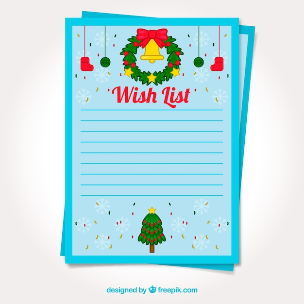 Template Of A Christmas Wish List Free Vector