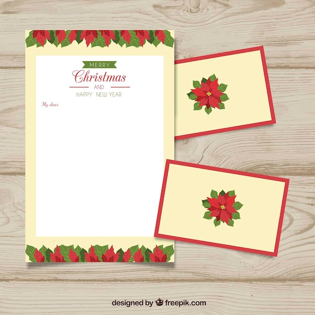 template of a letter with christmas flowers free vector