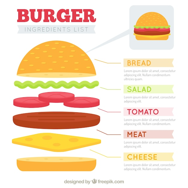 burger writing template - template of burger ingredient list vector free download