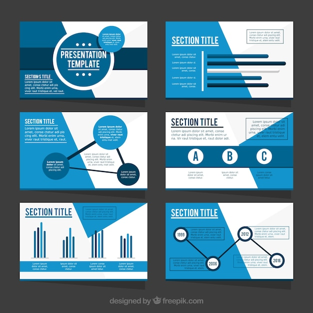 template of business presentation in blue tones vector | free download, Presentation templates