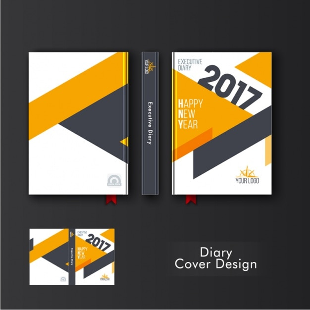 Template Of Diary Cover With Orange Geometric Shapes Premium Vector
