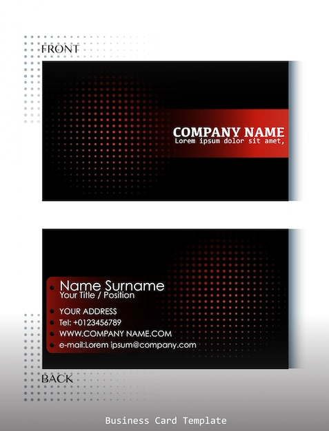 Template Of Front And Back View Of Business Card Vector Free - Front and back business card template