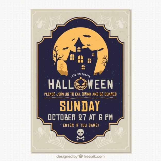 Template of halloween party brochure haunted house Free Vector