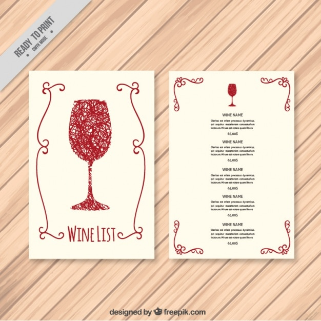 Template Of Hand Drawn Wine List  Free Wine List Template