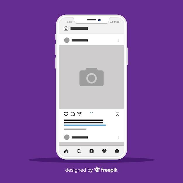 아이폰에 인스 타 그램 사진 프레임의 템플릿 무료 벡터