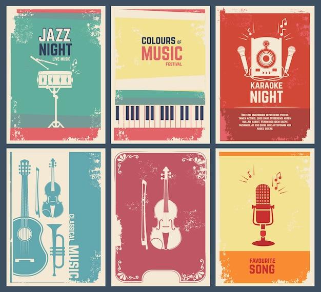 악기의 사진과 함께 초대 카드 템플릿. 음악 좋아하는 노래와 파티 재즈 축제 배너 그림 프리미엄 벡터