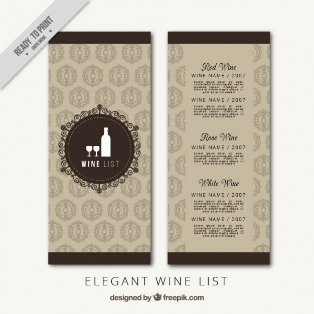 template of luxury wine list vector free download. Black Bedroom Furniture Sets. Home Design Ideas