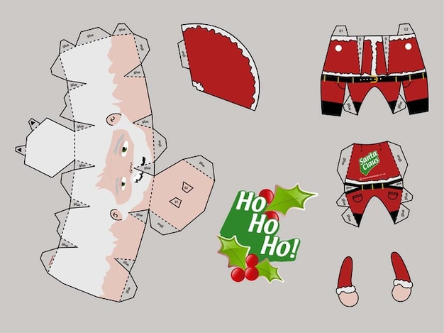 Template of santa papercraft Vector   Free Download