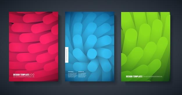 抽象的な色の背景を持つ雑誌のモダンなカバーのデザインのテンプレート。 Premiumベクター