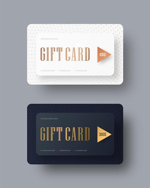 골드 텍스트와 벡터 고전적인 엄격한 선물 카드의 템플릿. 프리미엄 벡터