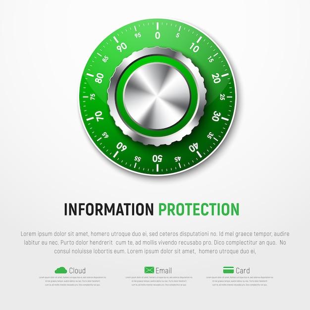 Шаблон белого баннера с зеленым механическим кодовым замком. защита личной информации, карт, облаков, электронной почты. Premium векторы