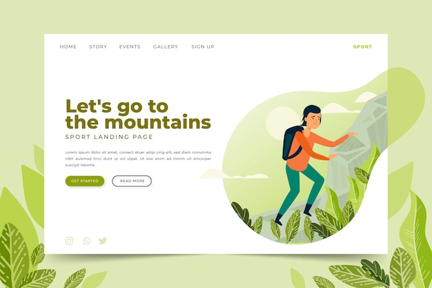 Template outdoor sport landing page Free Vector