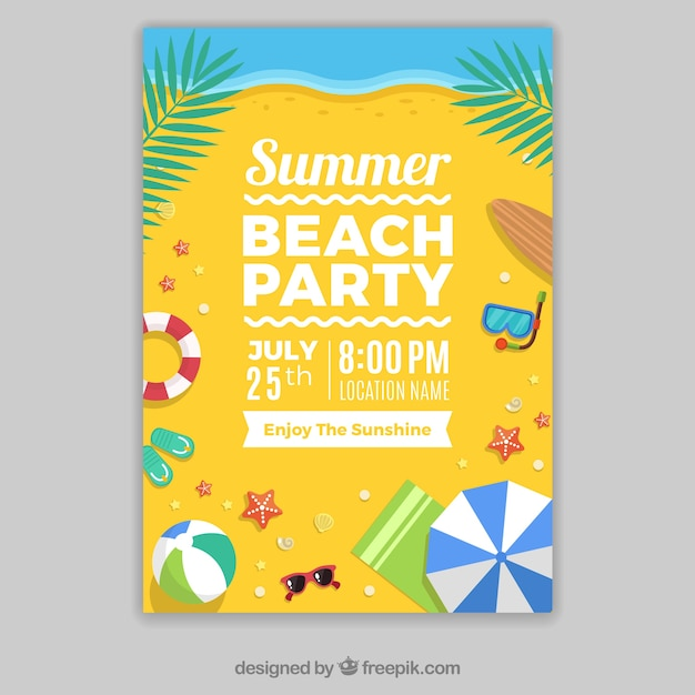 Template of party poster on the beach Free Vector