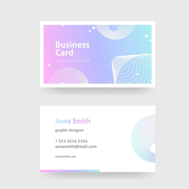 Template for pastel gradient business cards Premium Vector