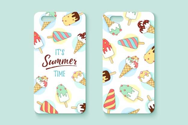 Template phone case with icecream and text summer Premium Vector