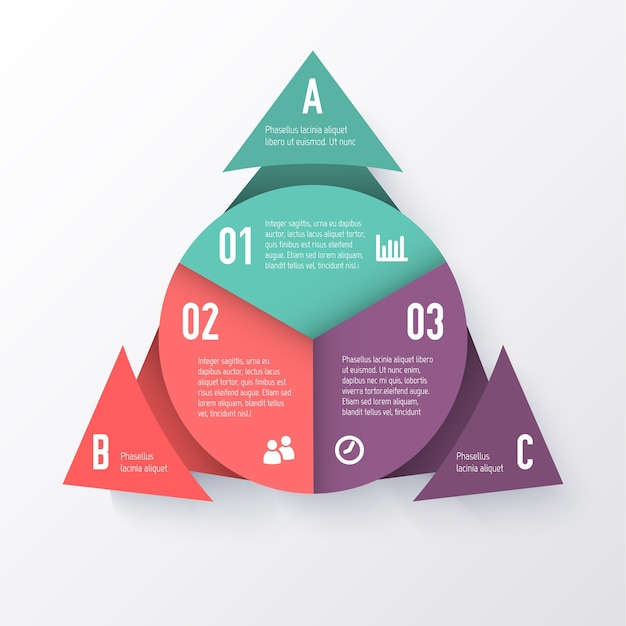Template of a pie chart with triangle arrows. business concept Premium Vector