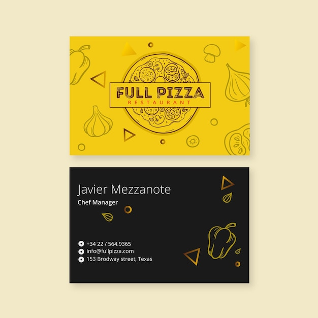 Template for pizza restaurant business card Free Vector