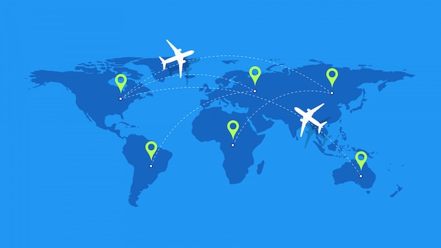 Template for plane tracking design. Premium Vector