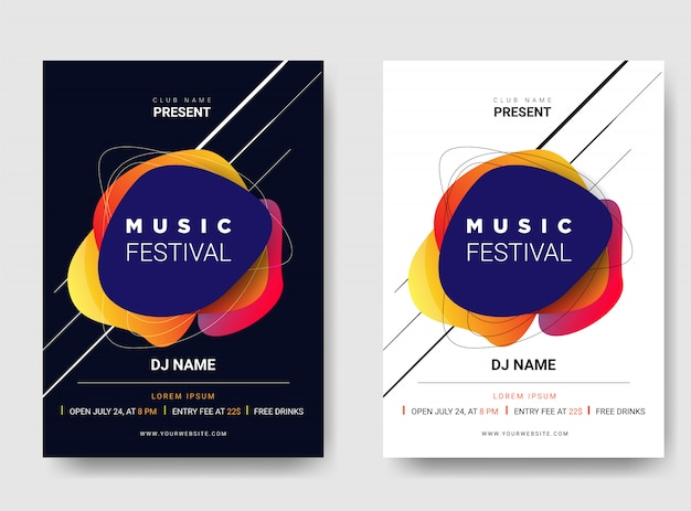 Template poster / flyer music festival. with gradient color combination. Premium Vector